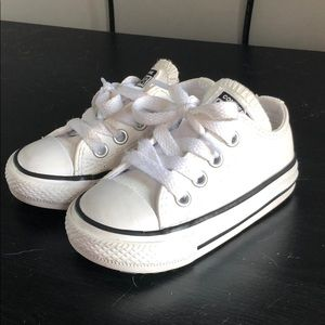 Converse white leather toddler size 4